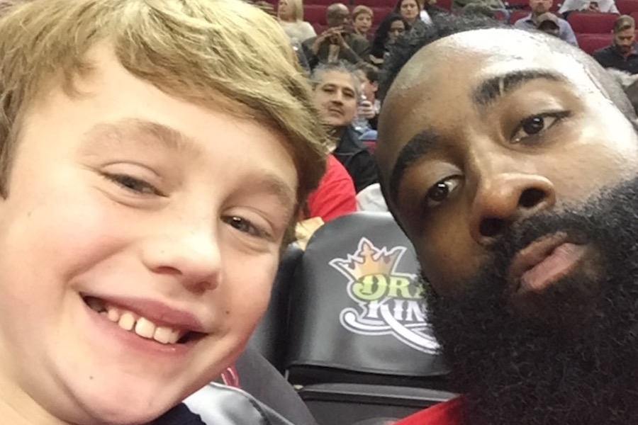 Selfie photo of NBA's James Harden and Logan Rhoades.