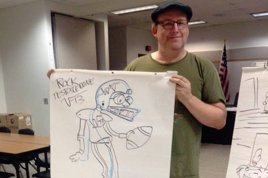 Photo by Serena Bennett of Jimmy Gownley, a Coal Region cartoonist of comic books.