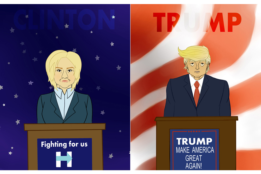 Illustrations by Sarah Matz of Hillary Clinton and Donald Trump for our vote coverage.