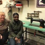 Photo by Coal Cracker Reporter Emma Shaller of Seamstress Virginia Laurusevage and her assistant Armelle Metellus.
