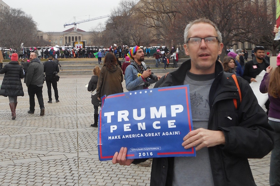 Photo of a Trump supporter at the Women's March on Washington.