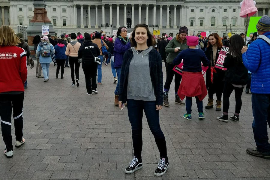 Photo of Coal Cracker Reporter Meredith Rhoades at the Women's March on Washington.