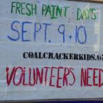 Photo of Coal Cracker Kids Fresh Paint Days volunteers needed announcement.