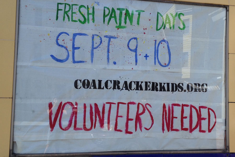 Photo of Coal Cracker Kids Fresh Paint Days volunteers needed announcement.