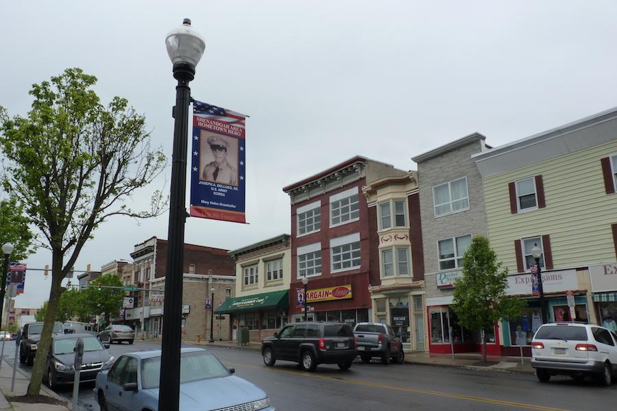 Photo of Shenandoah PA hometown hero banners.