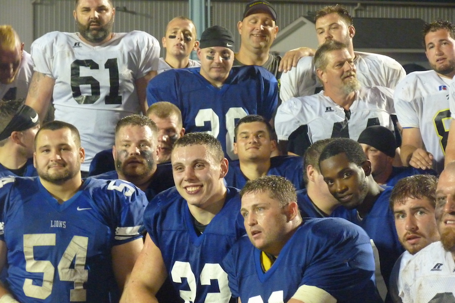 Members of the Mahanoy Area and Shenandoah Valley alumni football team 2017.