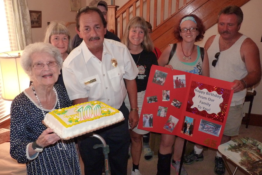 Photo of Maude Karwois of Girardville celebrating her 100th birthday.