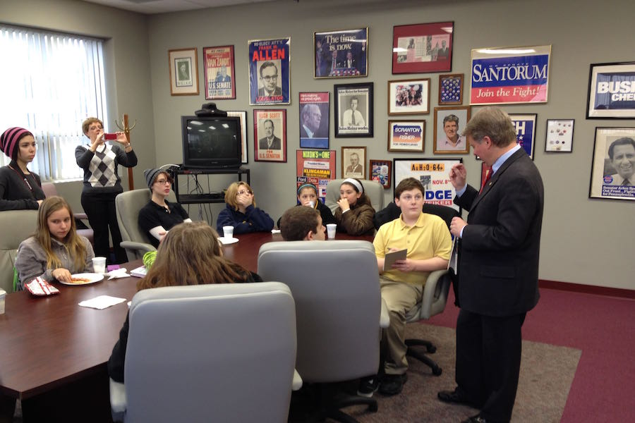 Photo of a meeting with Senator Argall.