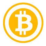 Cryptocurrency Bitcoin logo.