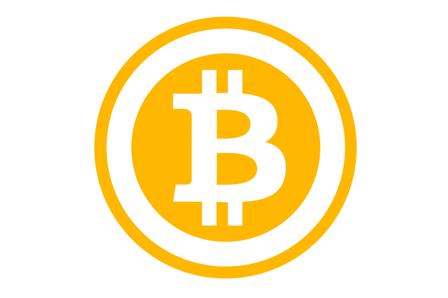 Cryptocurrency Bitcoin logo.