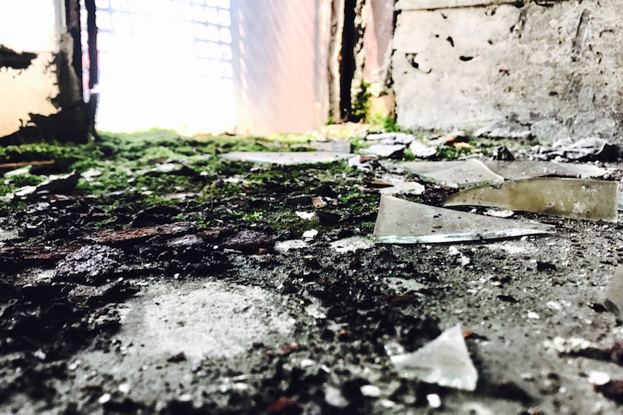 A photo of broken glass by Emma Shaller.
